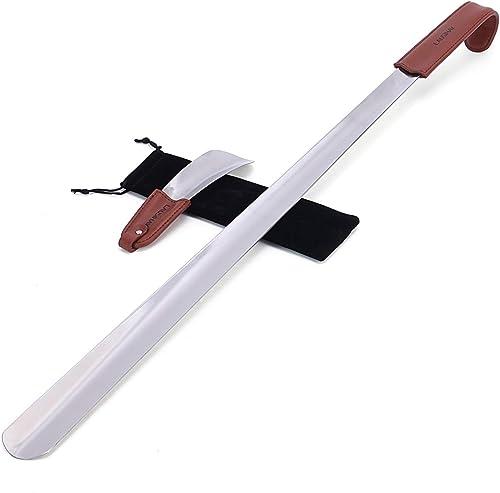 2 pc 70cm&17cm Chausse-pied - Chausse-pied acier inoxydable avec lanière en cuir - Chausse-pied Long Manche - Facile ...