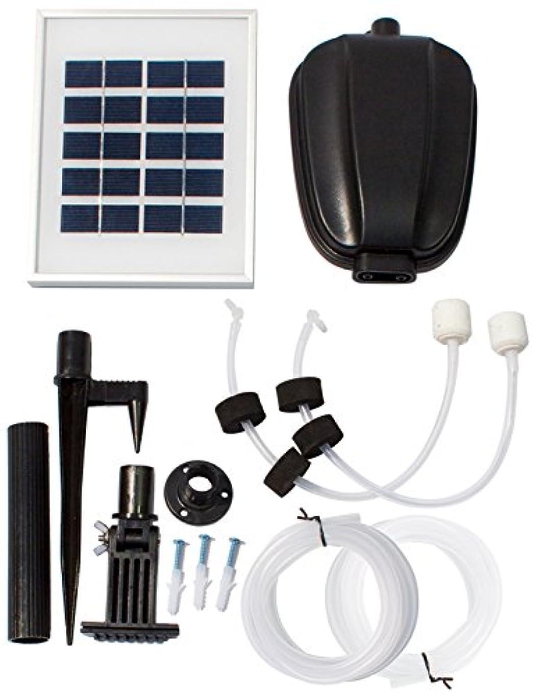 話をする局動池用ソーラー式通気-酸素供給器(酸素ポンプ)、散気口2個つき - WF9750