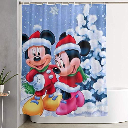 Duwamesva Shower Curtain Christmas Mickey and Minnie Art Print, Polyester Fabric Bathroom Decorations Collection with Hooks- 60 X 72 Inch