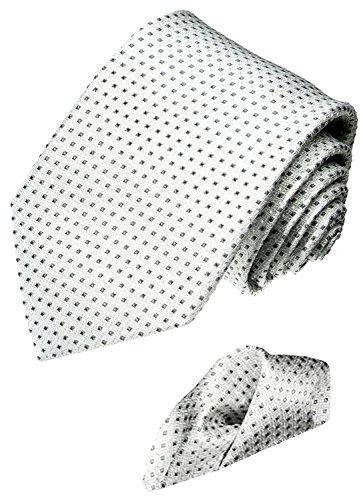 Lorenzo Cana - Marken 2 er Set 100% Seide - Krawatte mit Einstecktuch Weiß Silber Punkte Tupfen - 4200801