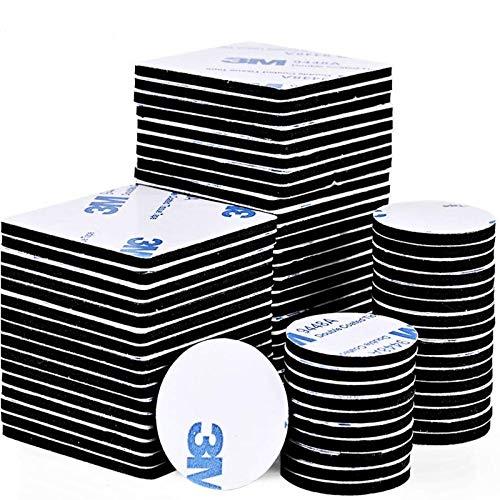 Faburo 80pcs Pad Biadesivo, Quadrato e Rotondo Nastro Biadesivo Extra Forte, Adesivo in Nastro Schiuma Forte per Anti-Rumore/Resistente Colpi/Nero Impermeabile