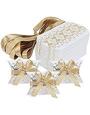 Hseamall Cajas de recuerdos de boda, caja de regalo para fiestas, caja de caramelos, 50 unidades