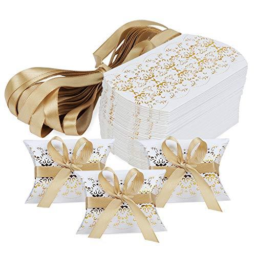 HSEAMALL Kissen-Form-Hochzeits-Geschenkboxen, Party-Geschenk-Box, Süßigkeiten-Box, 50 Stück Gold Print