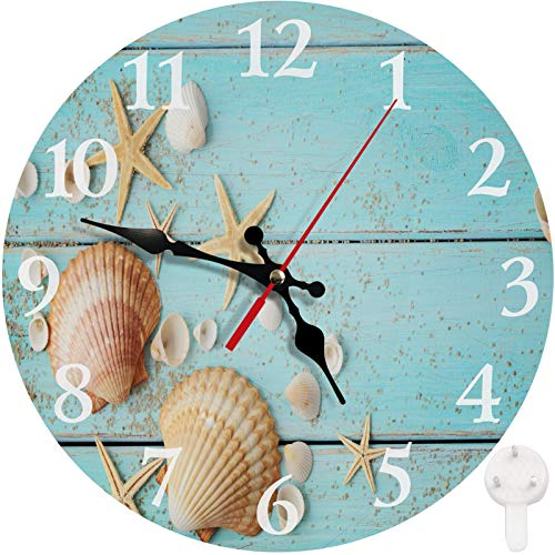 Britimes Round Wall Clock, Silent Non Ticking Clock 10 Inch, Decor for Bathroom, Bedroom, Kitchen, Office or School Summer Seashell
