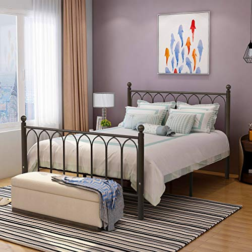 HOMERECOMMEND Metal Bed Frame Platform with Headboard and Footboard Box Spring Replacement Mattress Foundation Hevay Duty Steel Slats (Queen,Copper Veins)