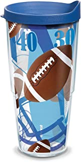 Tervis 1139502 Football Yards Background Tumbler with Wrap and Blue Lid 24oz, Clear