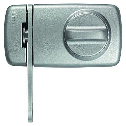 ABUS Türzusatzschloss 7030 mit Sperrbügel und Drehknauf , von Außen auf- und abschließbar , Zusatzsicherung für Haustüren , silber , 53275