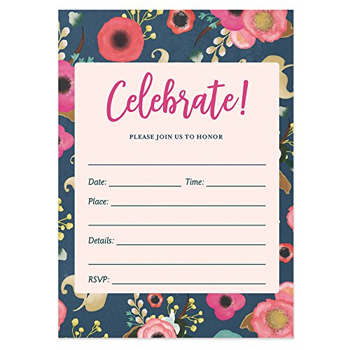 DB Party Studio Navy Floral Party Invitations with Envelopes ( Pack of 50 ) Beautiful Fill-In Bridal Shower, Retirement Party Invites Birthday, Anniversary Party Invitations VI0045