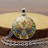 Collar largo con colgante de escarabajo egipcio, estilo vintage, con cabujón de cristal, para mujer