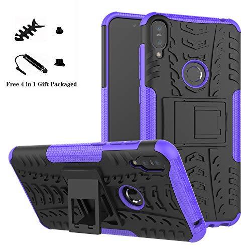 LiuShan Protettiva Shockproof Rigida Dual Layer Resistente agli Urti con cavalletto Caso per ASUS Zenfone Max PRO M1 ZB601KL / ZB602K Smartphone,Viola