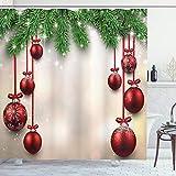 ABAKUHAUS Navidad Cortina de Baño, Red Bolas de Cintas, Material Resistente al Agua Durable Estampa Digital, 175 x 200 cm, Verde y Rojo