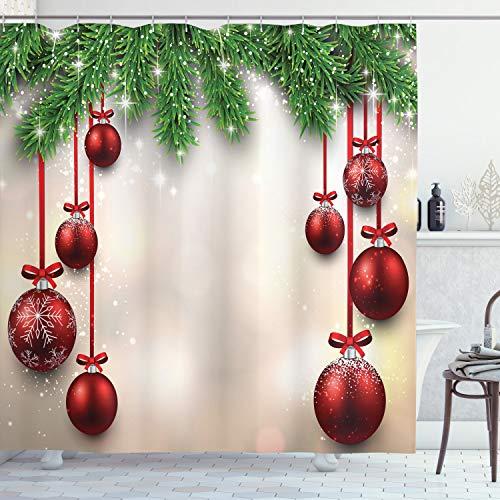 ABAKUHAUS Natale Tenda da Doccia, Sfere Rosse Nastri, Tessuto Set di Decorazioni per Il Bagno con Ganci, per la Vasca da Bagno, 175 cm x 240 cm, Verde e Rosso