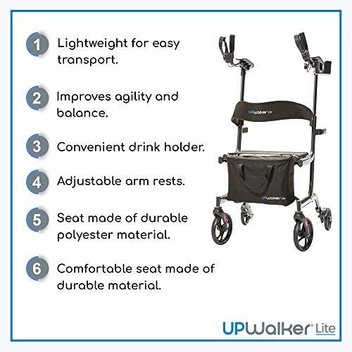 UPWalker Lite Original Upright Walker – Lightweight, Stand Up Rollator Walker & Walking Aid with Seat - ISO Safety Certified – Easier Handling & Compact Design