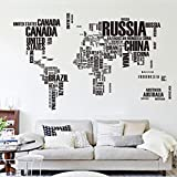 zooarts Anglais Version Carte du monde sticker mural amovible en vinyle