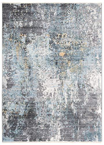 Jupiter - Alfombra moderna de calidad, degradada y brillante, para salón, dormitorio, salón, efecto carving, gris, marrón, pardo, 3082, azul (120 x 180 cm)