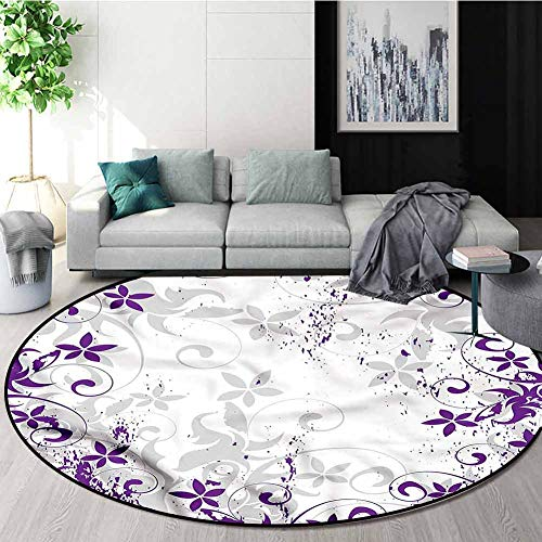 Amazing Deal RUGSMAT Purple and White Warm Soft Cotton Luxury Plush Baby Rugs,Floral Blooms Home Dec...