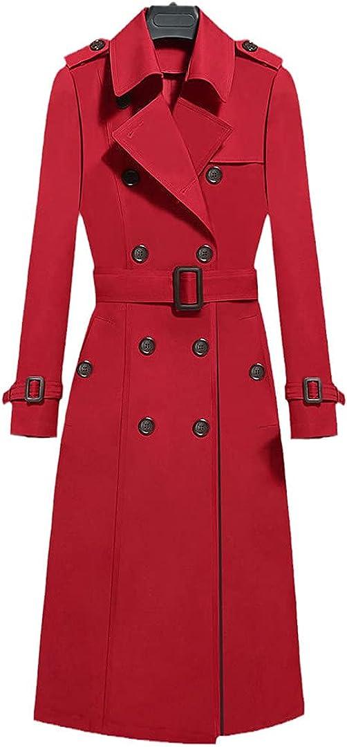 Ciystekn Sacramento Mall Women's Luxury Plus Size Double Breasted Coat Slim Windb Waist