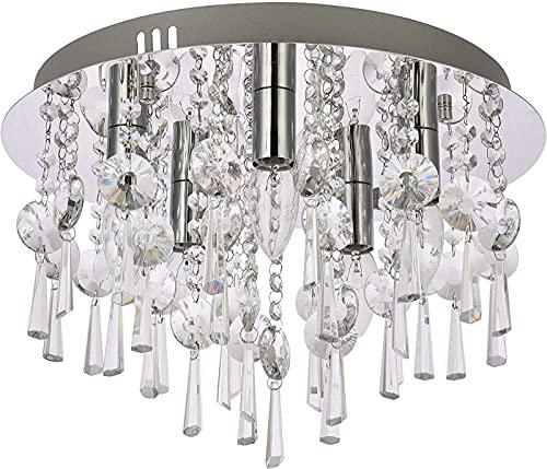 Elegante lámpara de araña de cristal de montaje empotrado, lámpara de techo LED redonda moderna, iluminación colgante de cromo para comedor, baño, dormitorio, sala de estar, salón, diámetro 40 cm