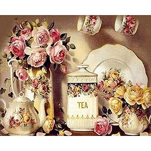 ifoto Diy 5D Diamond Painting Kits For Adults Full Drill Rhinestone,Cross Stitch Crafts Art For Home Wall Decor Living Room Gifts 30*40Cm-Vintage Tea Pot