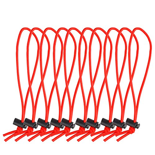 POWRIG 6 Elastic Cable Ties Bungee Cords Adjustable Cable Management Reusable -Red (10-pack)