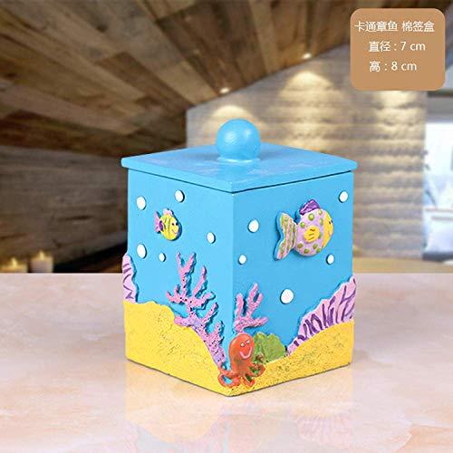 LMHSG Caja de Tejido Europea Creativa Multifunción Océano Modelado de Resina Caja de pañuelo de Resina Bandeja IKEA Caja de Tejido Pequeño Peces Caja de algodón Tissue Box (Color : Ssfhgh73246)