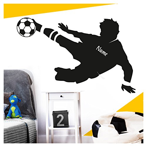 Wandora Wandtattoo Fußballspieler + Wunschname I schwarz (BxH) 91 x 58 cm I Ball Fußball Sticker Aufkleber Kinderzimmer Junge Wandsticker Wandaufkleber G035