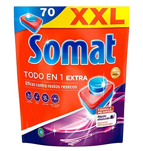 Somat Todo en 1 Extra Pastillas para Lavavajillas a Máquina Pack XXL - 70 Lavados