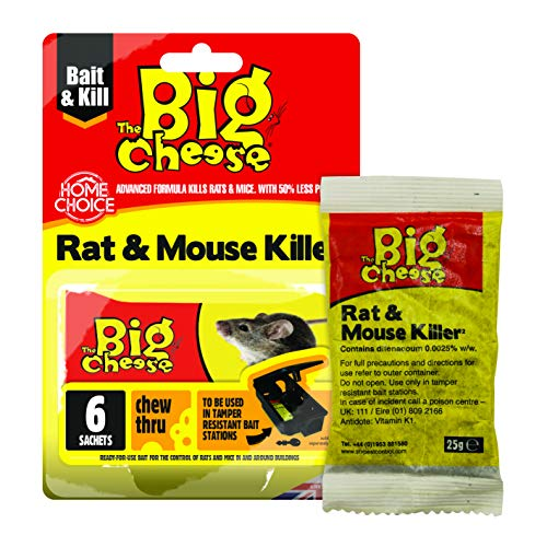 The Big Cheese Killer² Grain Bait Sachets-6x25g Rat & Mouse Killer2-Bustine per Esche di Grano, 6 x 25 g, Blu, 6.3x13.2x19 cm