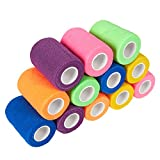 Pack of 12 Vet Wraps - Gauze Rolls - Cohesive Bandage - Bandage Wrap for Animals, Assorted Colors, 3 inches x 66.9 inches