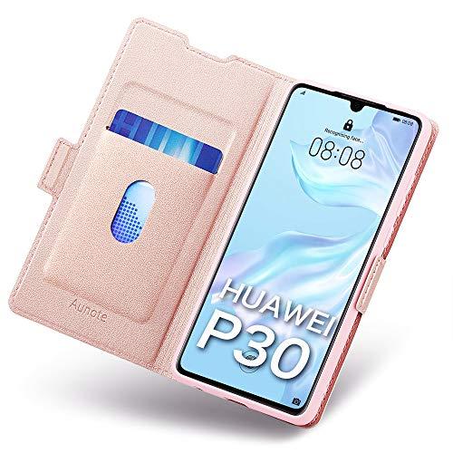 Funda Huawei P30, Funda P30 Libro, Huawei P30 Funda, Carcasa Huawei P30 con Cierre Magnético, Tarjetero y Suporte, Cubierta Plegable Cartera, Flip Cover Case, Tipo Étui Piel Protección. Oro Rosa