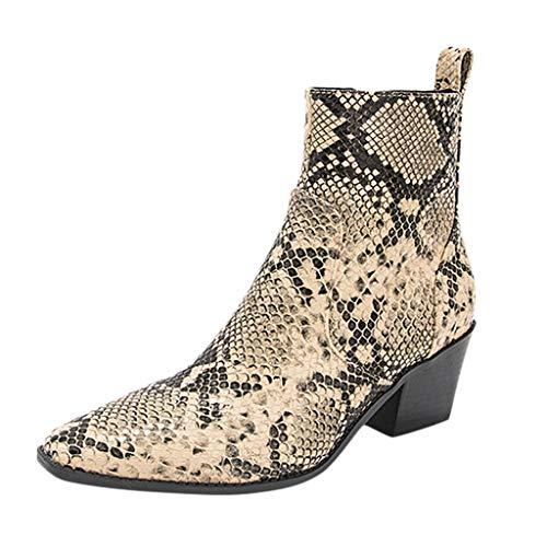 Oksea Damenmode Heel Point Toe Animal Damen Stiefeletten Schlangenmuster mit Blockabsatz Reißverschluss Schuhe Damen Ankle Boots Wildleder Reissverschluss Stiefel Mit Absatz
