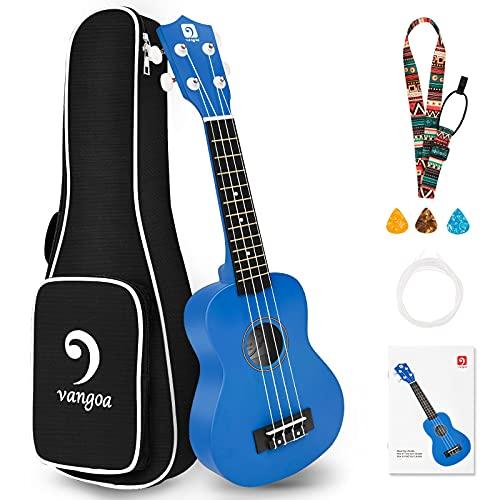 Vangoa Soprano Ukulele, 21 Inch Acoustic Ukulele Uke Beginner Kit for Kids Students Starter with Guide Book, Gig Bag and Strap, Blue