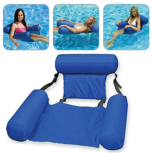 MandoPon Pool Floats for Adults Swimming Floating Chair, 2Pcs Inflatable Swimming Floating Chair Pool Seats Foldable Water Lounge Chairs Lake Seats Lounger Portable Lazy Pool Chair