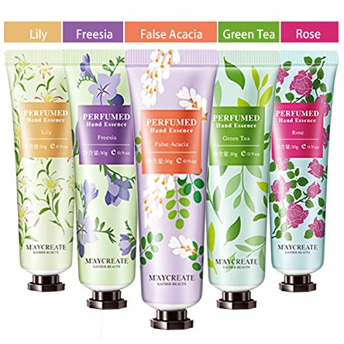 5 Pack Fruits Extract Fragrance Hand Cream,Moisturizing Hand Care Cream Travel Gift Set with Shea Butter For Women