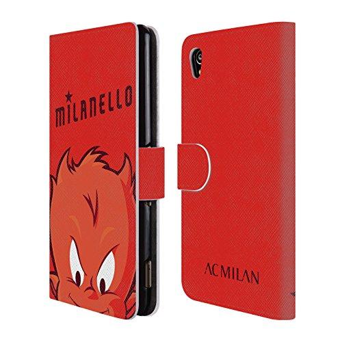 Head Case Designs Officiel AC Milan Milanello Enfants Coque en Cuir à Portefeuille Compatible avec Sony Xperia M4 Aqua