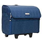 Everything Mary Sewing Machine Case, Blue Dot - Craft Rolling Tote Cover Bag with Wheels for Brother, Singer & Most Machines - Storage Organization Carrying Cart for Accessories