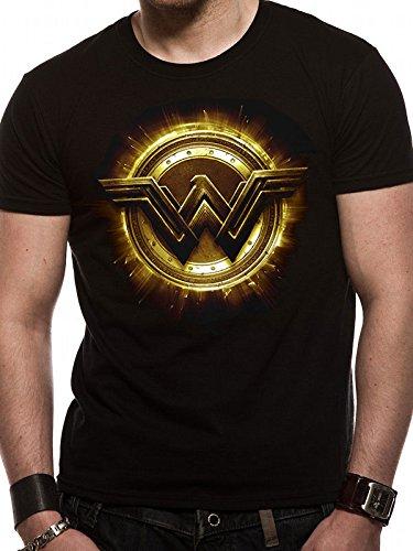 CID Justice League Movie-Wonder Woman Symbol Camiseta, Negro, S para Hombre