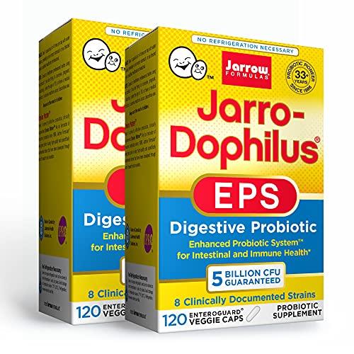 Jarrow Formulas Jarro-Dophilus EPS - 5 Billion Organisms Per Serving - 120 Enteric Coated Veggie Caps, Pack of 2 - Multi-Strain Probiotic - Intestinal & Immune Health - Up to 240 Total Servings