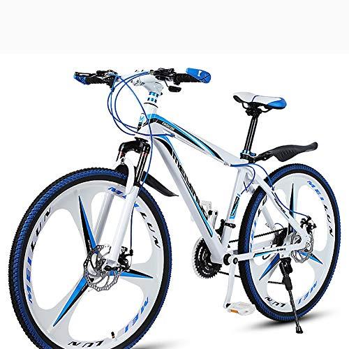 Mountain Bike Uomo,Adulto Bici Da Città Freno A Doppio Disco Donna,Bici Da Strada Sospensione Anteriore 26 Pollici Velocità Adolescenti Blu 21 Velocità