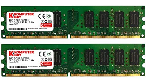 KOMPUTERBAY 8GB (2 X 4GB) DDR2 DIMM (240 PIN) 800Mhz PC2 6400 PC2 6300 8 GB - CL 5