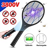 BOYON Electric Bug Zapper Racket, Rechargeable Fly Swatter Tennis Racket, 3,800Volt Handheld Mosquito Killer, 2 LED...