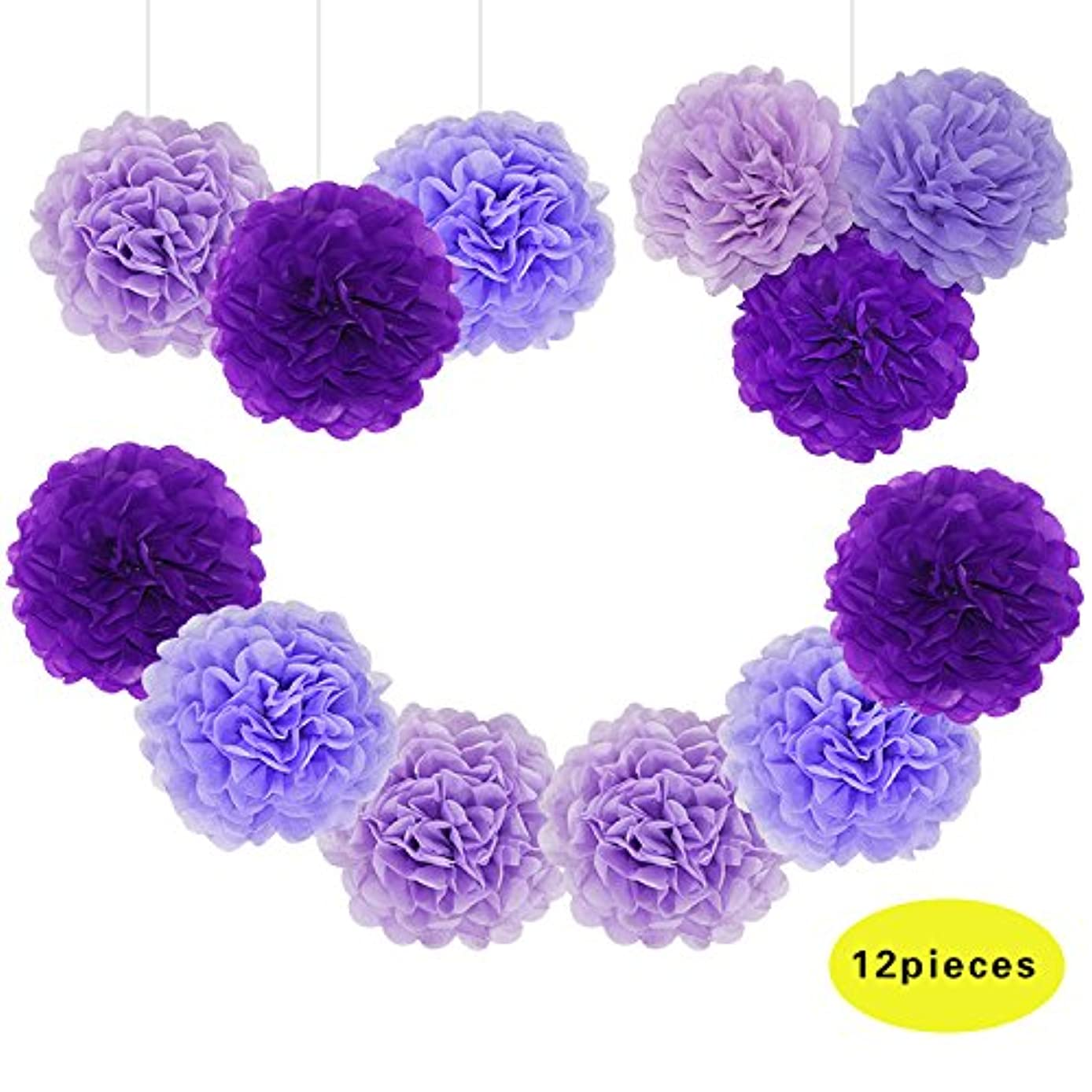 Jesipi Lavender Purple Lilac Tissue Paper Pompoms Wedding Decoration Hanging Party Supplies in 3