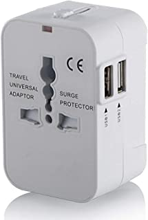 Travel Adapter,Worldwide All in One Universal Power Wall Charger AC Power Plug Adapter with Dual USB Charging Ports for USA EU UK AUS Cell Phone Laptop (White)