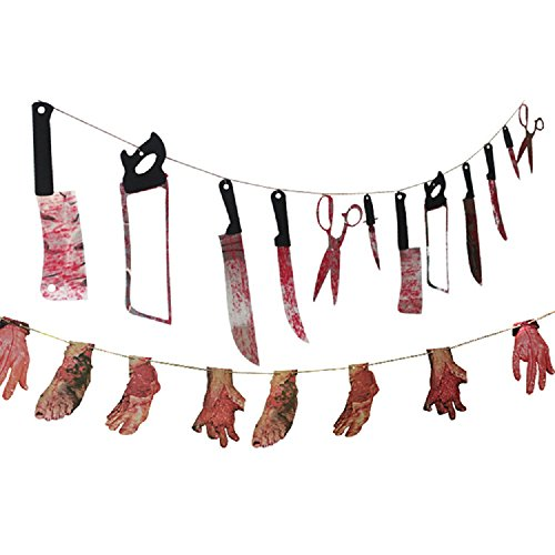 Bloody Weapon Garland and Bloody Limbs Garland for Halloween Hanging Decorations