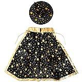 cherrypop Disfraces de Halloween bruja mago capa con sombrero para niños y niñas negro