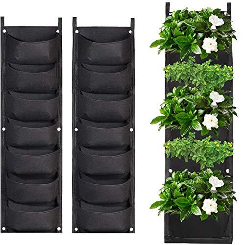 2 Pack Wall Planting Bags 7 Pocket Wall Hanging Planter Planting Grow Bags Vertical Hanging Plant...