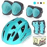 UPBOXN Kids Bike Helmet Set, Knee Pads Elbow Pads Wrist Guards Toddler Kids Protective Gear Set for Skateboard, Bike, Roller Skating, Cycling, Scooter, Rollerblade (Blue, Small)