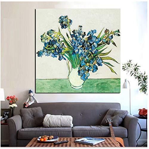 """NIESHUIJING druk op canvas HD-druk vaas met rozen Anemonen Iris abstract Van Gogh bloemenschilderij muurkunst afbeelding voor de woonkamer 31.4""""x 31.4""""(80x80cm) Geen lijst1"""