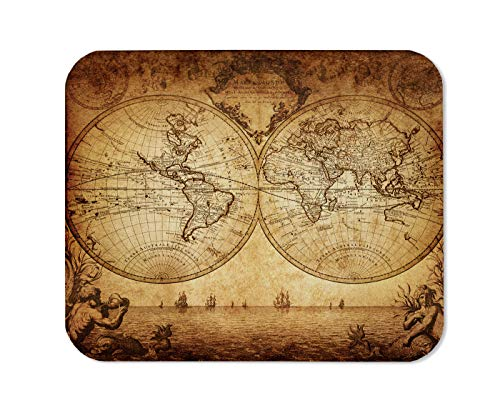 Yeuss Vintage Map Mouse Pad Rectangular Non-Slip Mousepad, Vintage Map of The World 1733 Gaming Mouse Pads, Brown,200mm x 240mm