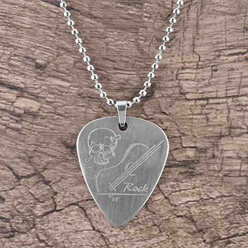 Dilwe Collar de Púa de Guitarra, Collar de Acero Inoxidable Pick Plectrum Accesorio para Guitarra(Calavera)